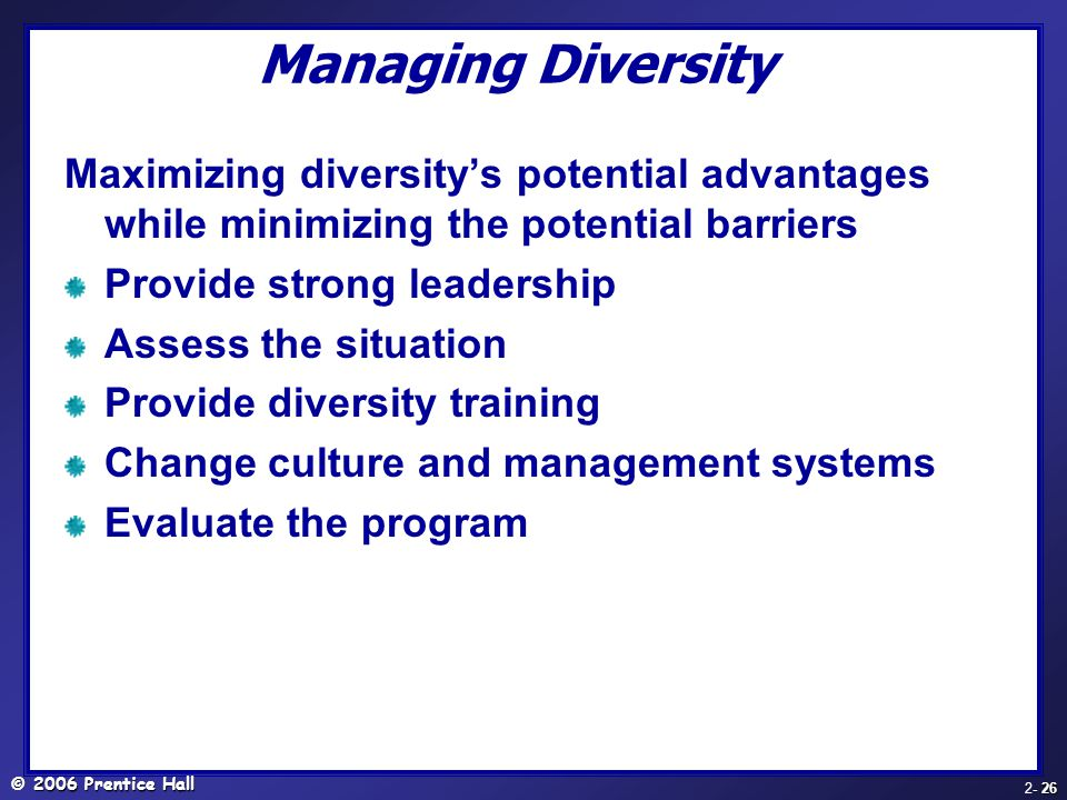 Managing Diversity Maximizing diversity's potential advantages while minimizing the potential barriers.