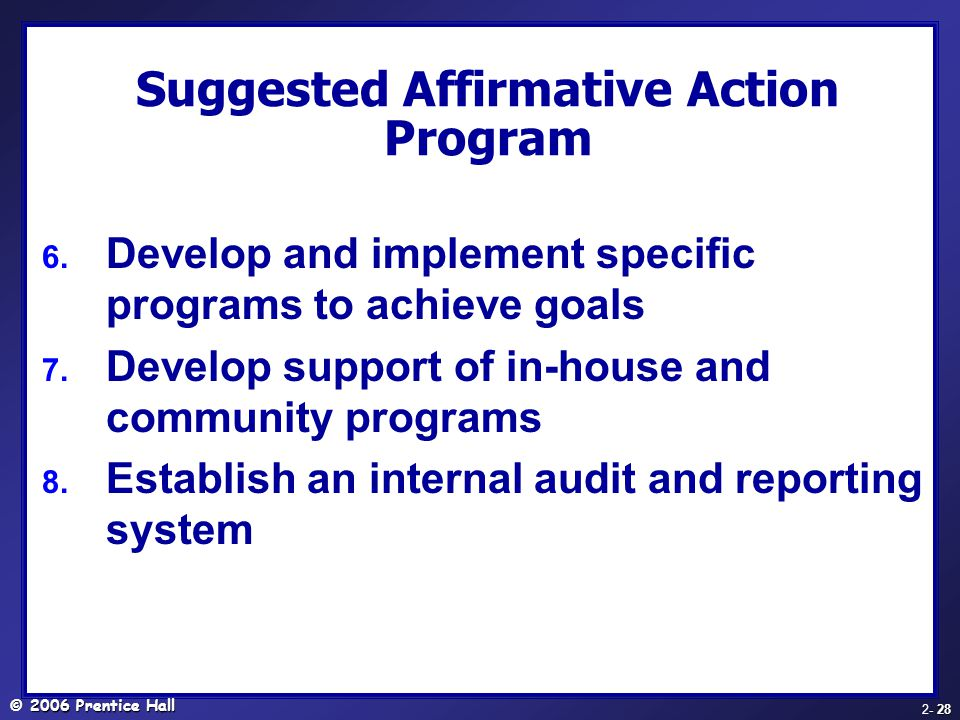 Suggested Affirmative Action Program
