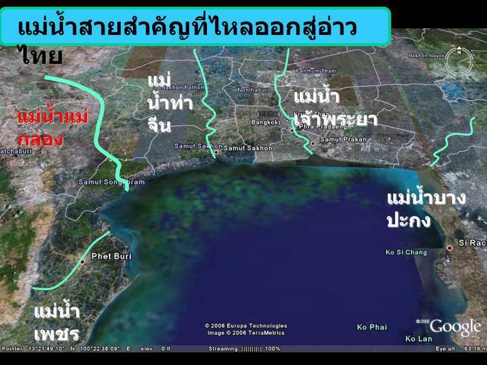 แม่น้ำสายสำคัญที่ไหลออกสู่อ่าวไทย