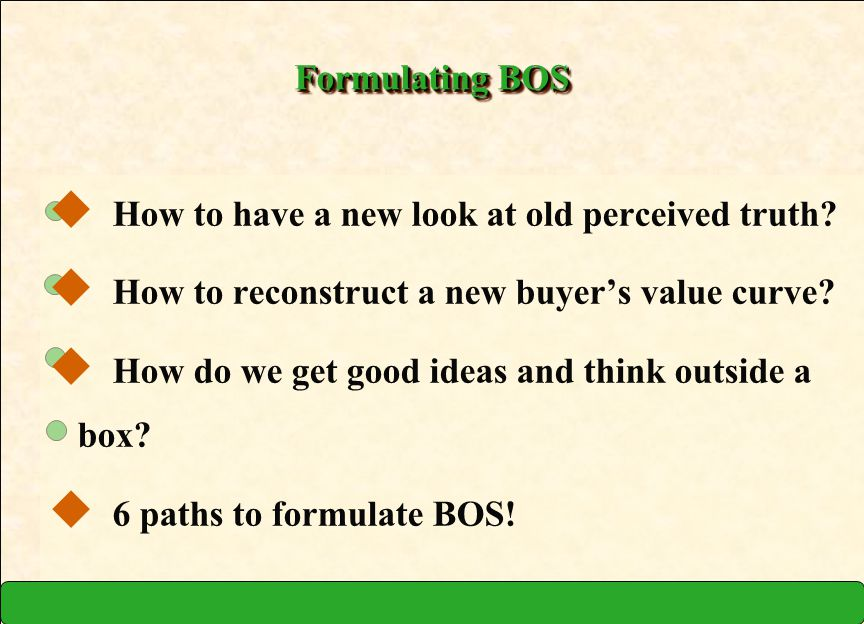 Formulating BOS How to have a new look at old perceived truth How to reconstruct a new buyer's value curve