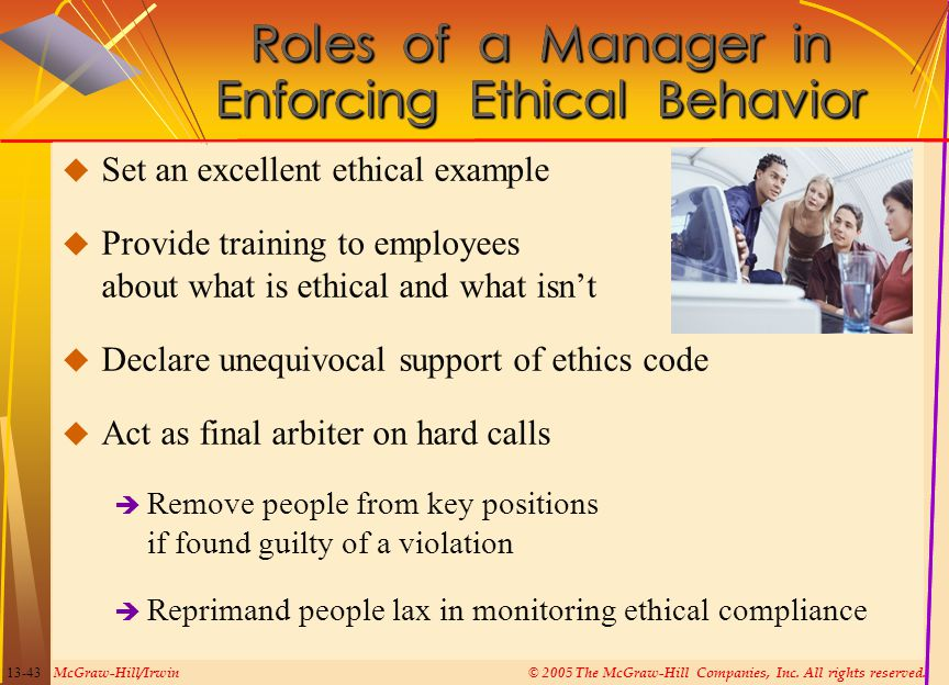 Roles of a Manager in Enforcing Ethical Behavior