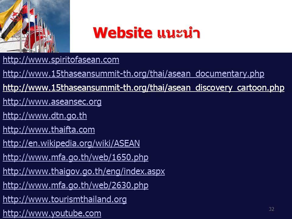 Website แนะนำ http://www.spiritofasean.com