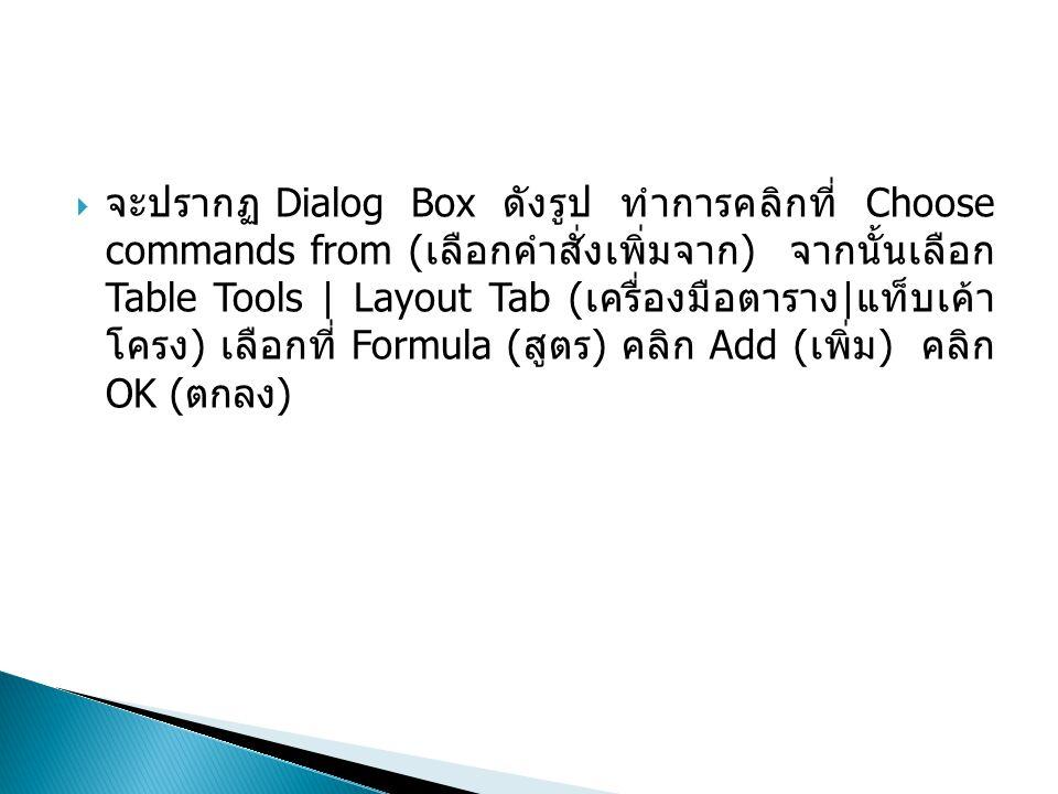 จะปรากฏ Dialog Box ดังรูป ทำการคลิกที่ Choose commands from (เลือกคำสั่งเพิ่ม จาก) จากนั้นเลือก Table Tools | Layout Tab (เครื่องมือตาราง|แท็บเค้าโครง) เลือกที่ Formula (สูตร) คลิก Add (เพิ่ม) คลิก OK (ตกลง)