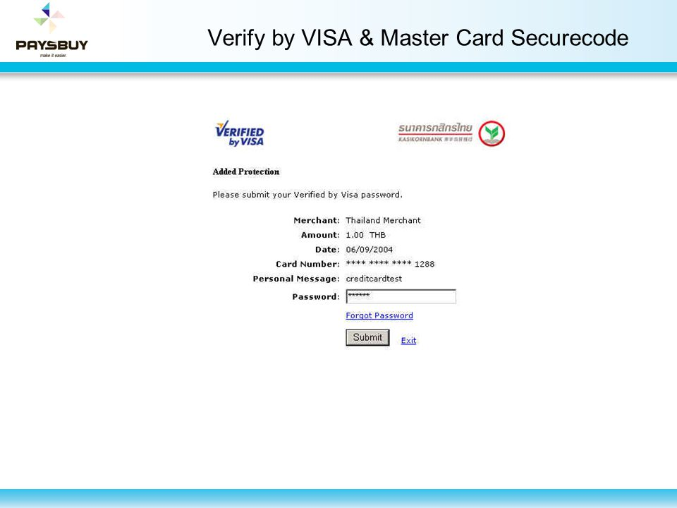 Verify by VISA & Master Card Securecode