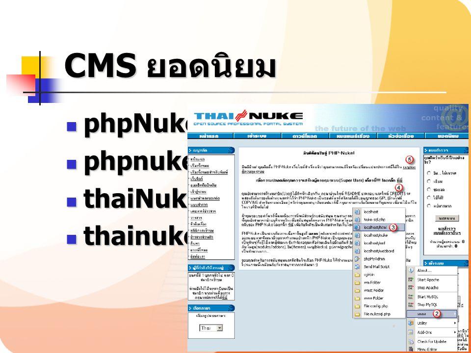 CMS ยอดนิยม phpNuke phpnuke.org thaiNuke thainuke.org