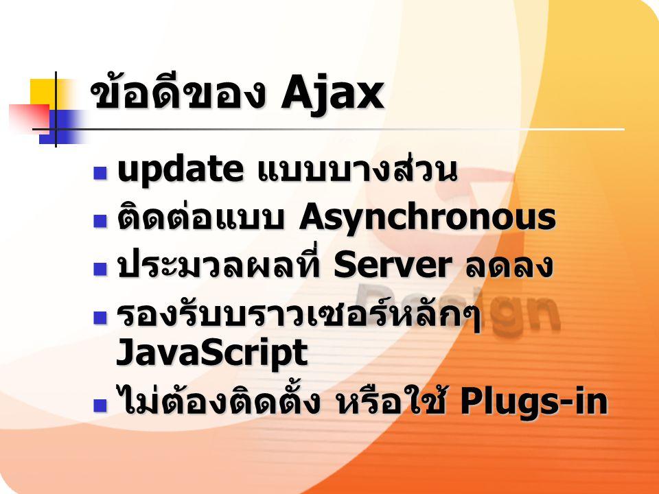 ข้อดีของ Ajax update แบบบางส่วน ติดต่อแบบ Asynchronous