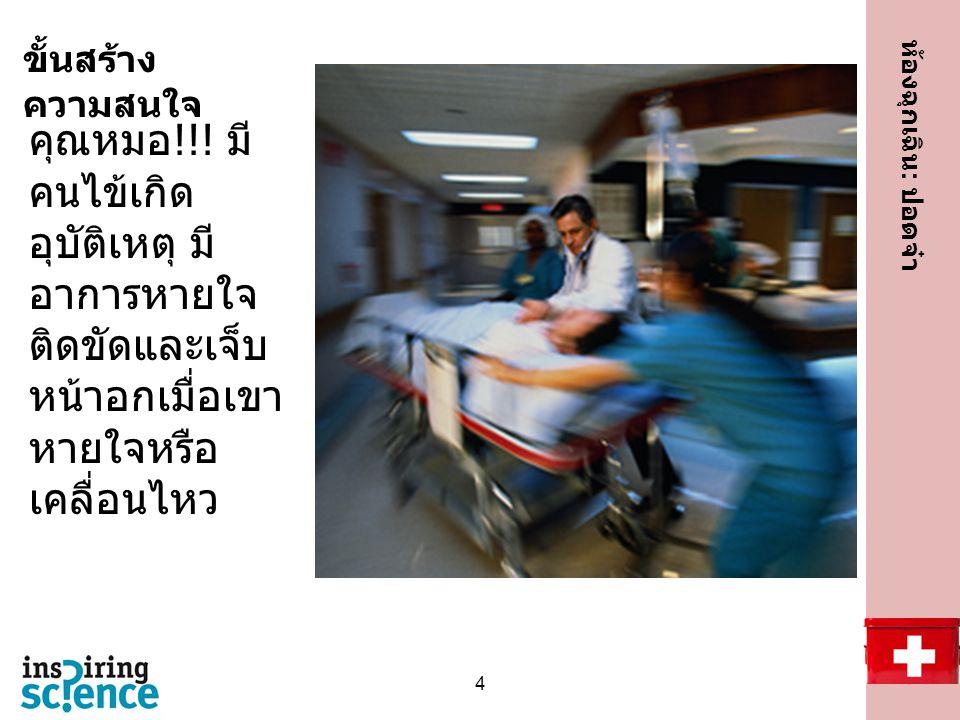 ขั้นสร้างความสนใจ เกิดเหตุฉุกเฉิน!!!!! คุณหมอ!!! มีคนไข้เกิดอุบัติเหตุ มีอาการหายใจติดขัดและเจ็บหน้าอกเมื่อเขาหายใจหรือเคลื่อนไหว.