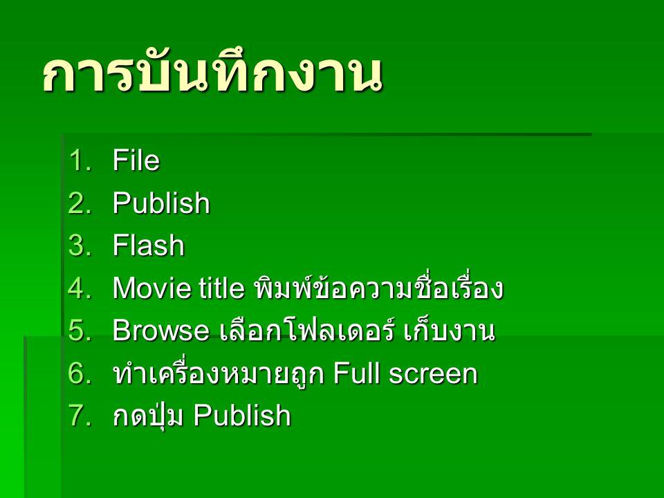 การบันทึกงาน File Publish Flash Movie title พิมพ์ข้อความชื่อเรื่อง
