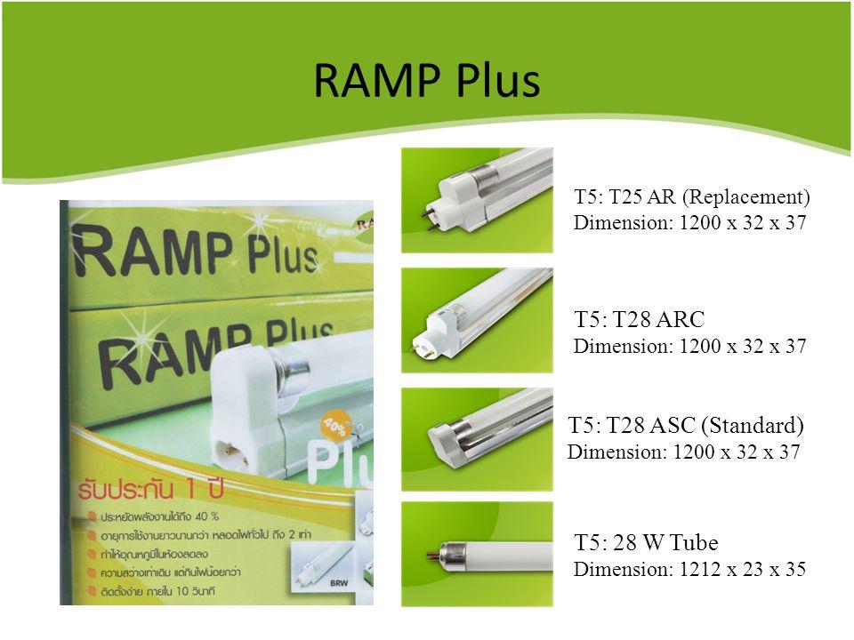 RAMP Plus T5: T28 ARC T5: T28 ASC (Standard) T5: 28 W Tube