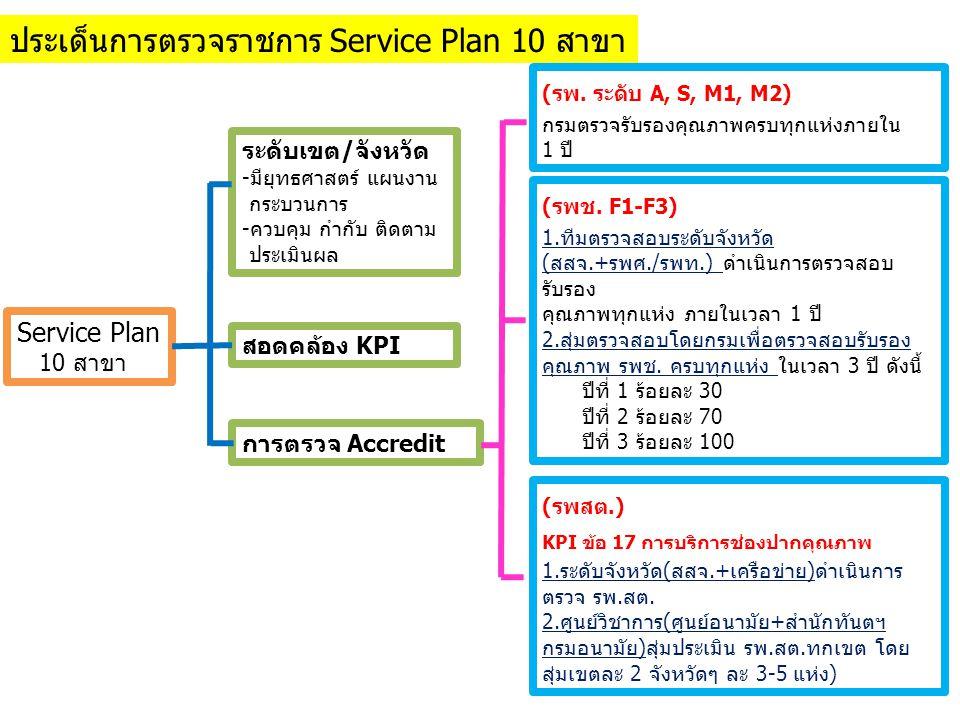 ประเด็นการตรวจราชการ Service Plan 10 สาขา