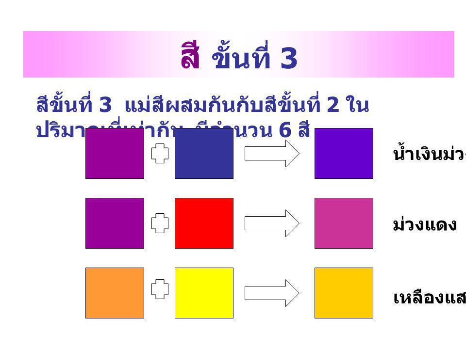 สี ขั้นที่ 3 สีขั้นที่ 3 แม่สีผสมกันกับสีขั้นที่ 2 ในปริมาณที่เท่ากัน มีจำนวน 6 สี น้ำเงินม่วง. ม่วงแดง.