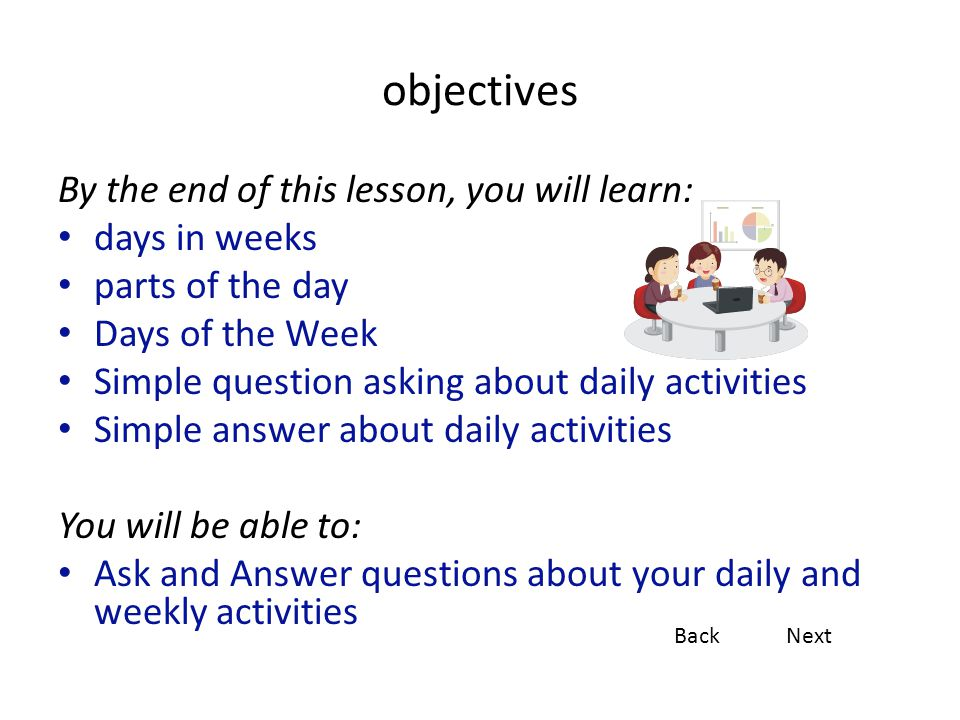 objectives By the end of this lesson, you will learn: days in weeks