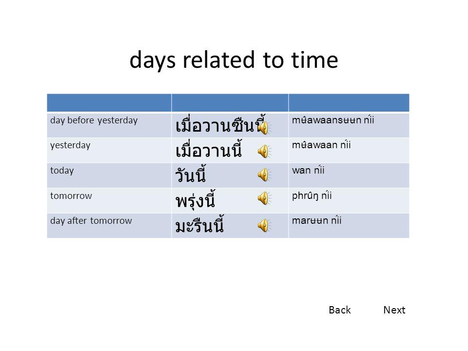 days related to time เมื่อวานซืนนี้ เมื่อวานนี้ วันนี้ พรุ่งนี้