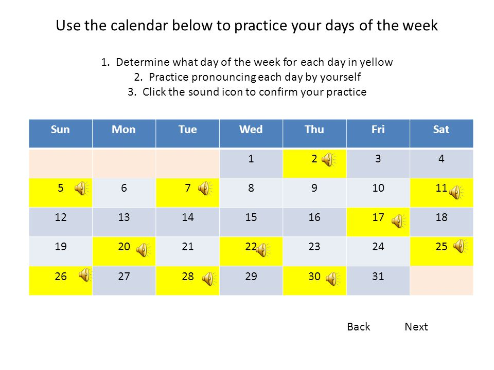 Use the calendar below to practice your days of the week 1