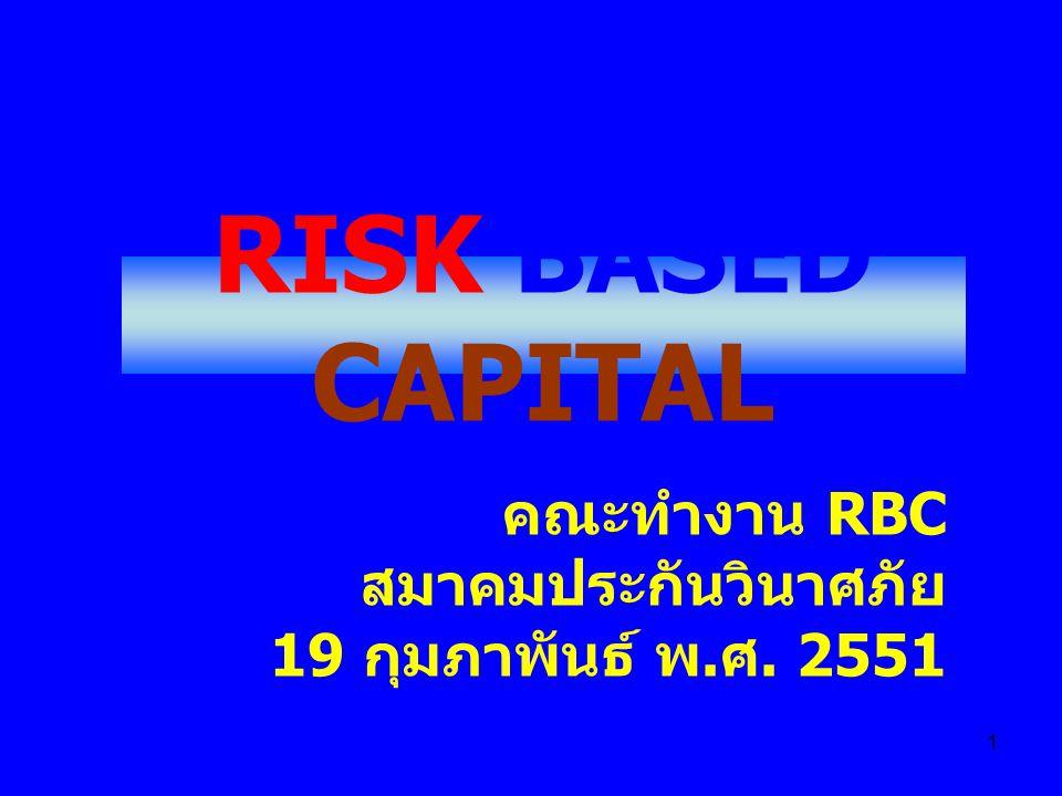 RISK BASED CAPITAL คณะทำงาน RBC สมาคมประกันวินาศภัย