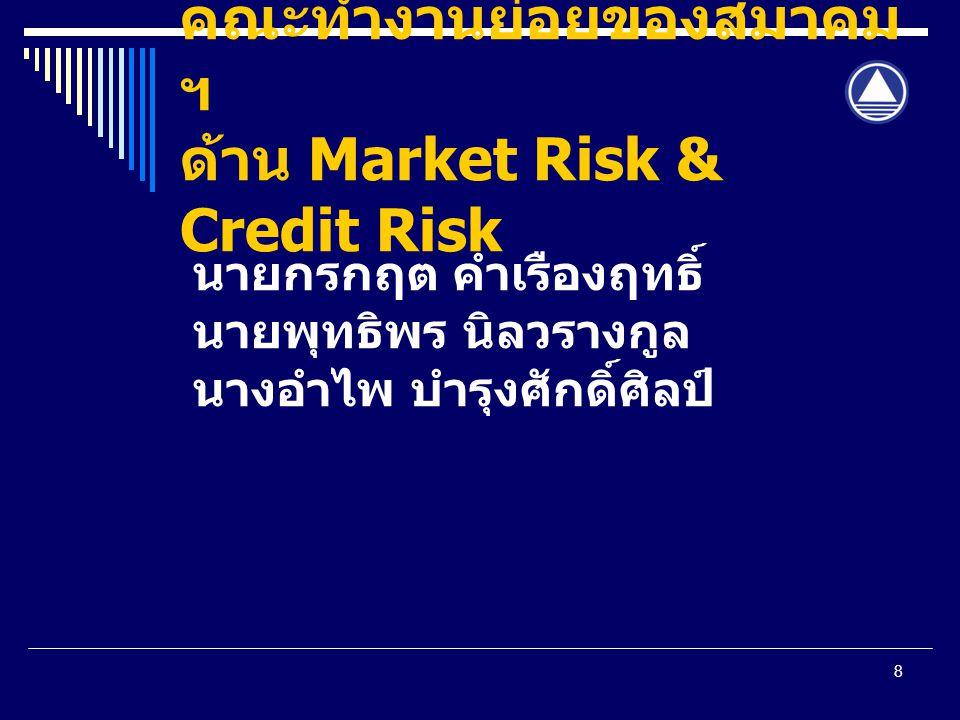 คณะทำงานย่อยของสมาคมฯ ด้าน Market Risk & Credit Risk