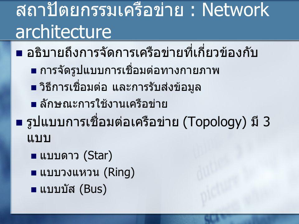 สถาปัตยกรรมเครือข่าย : Network architecture