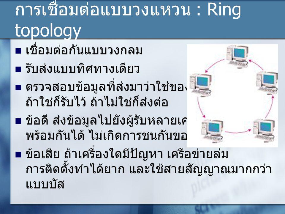 การเชื่อมต่อแบบวงแหวน : Ring topology