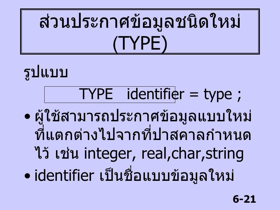ส่วนประกาศข้อมูลชนิดใหม่ (TYPE)