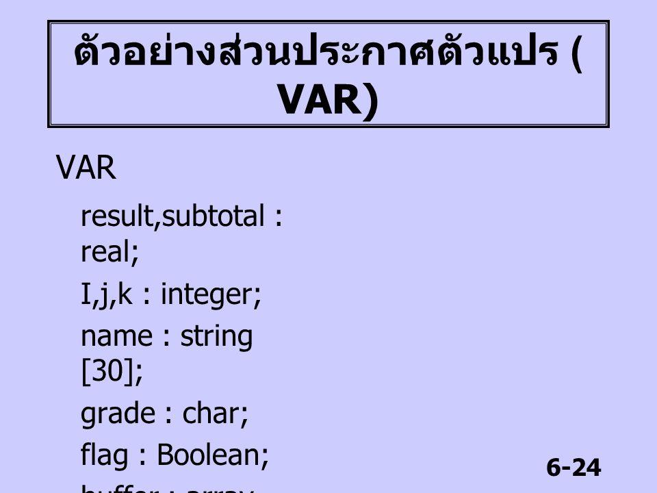 ตัวอย่างส่วนประกาศตัวแปร ( VAR)