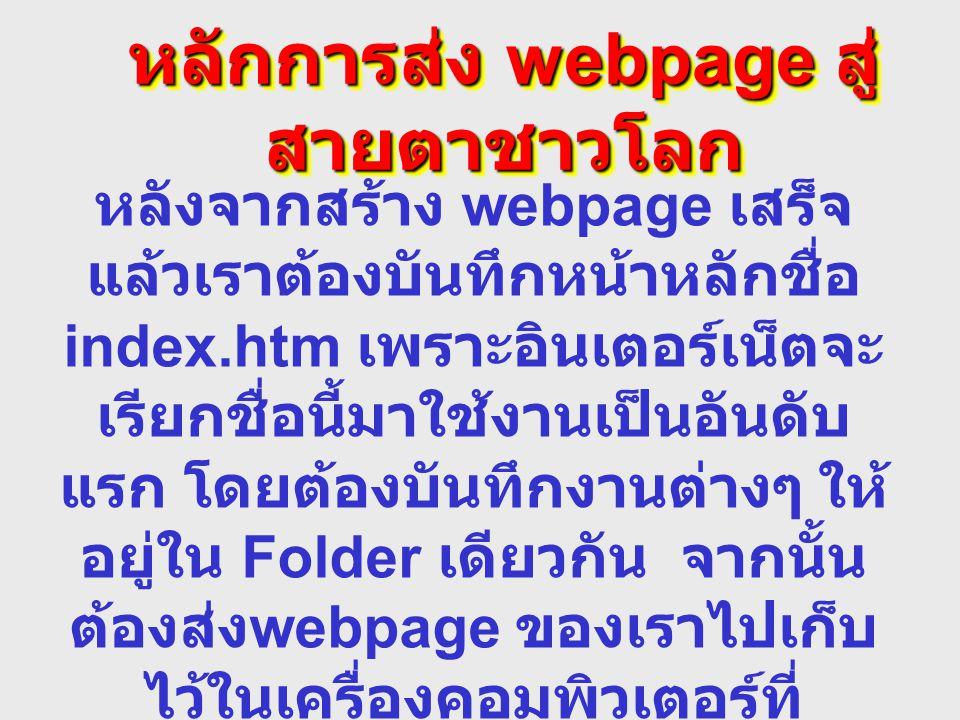 หลักการส่ง webpage สู่สายตาชาวโลก