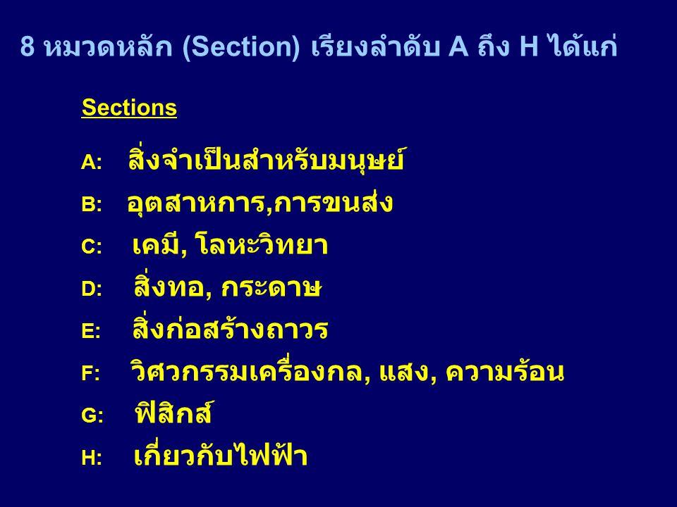 8 หมวดหลัก (Section) เรียงลำดับ A ถึง H ได้แก่