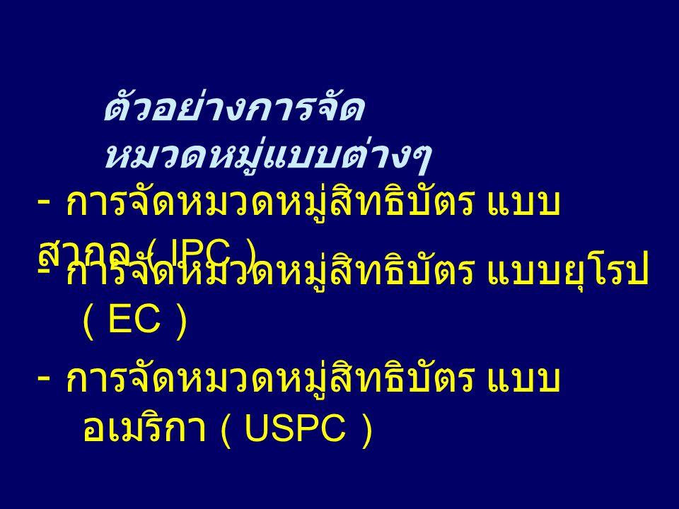 - การจัดหมวดหมู่สิทธิบัตร แบบยุโรป ( EC )