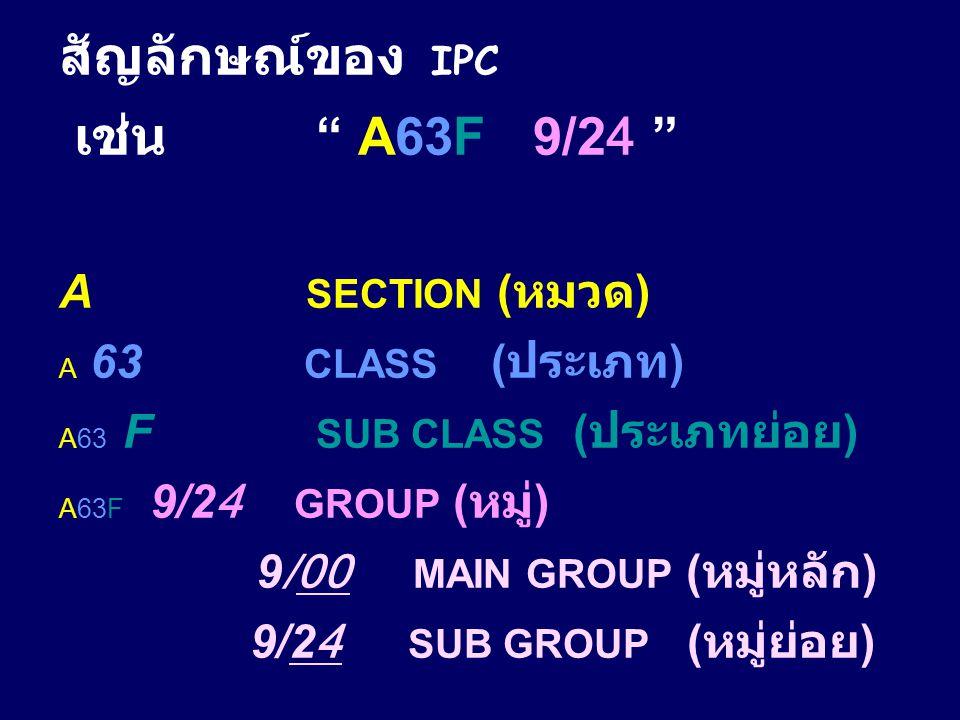 สัญลักษณ์ของ IPC เช่น A63F 9/24 A SECTION (หมวด)