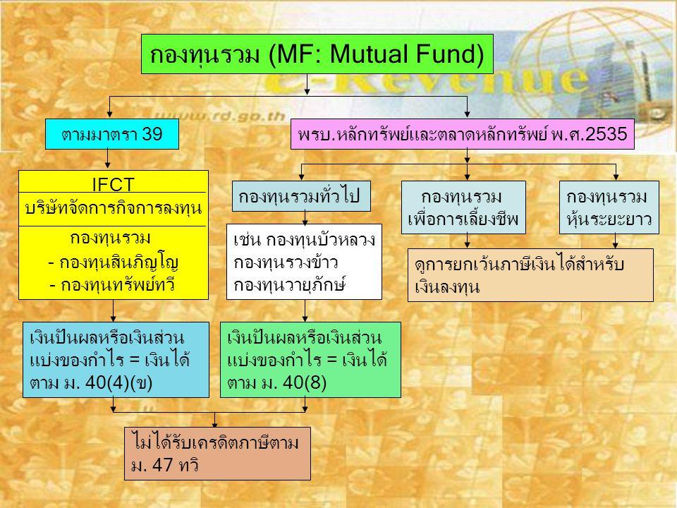 กองทุนรวม (MF: Mutual Fund)