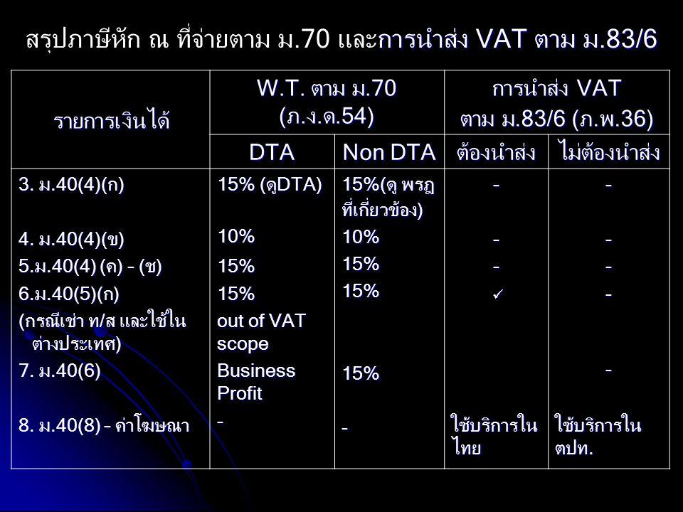 สรุปภาษีหัก ณ ที่จ่ายตาม ม.70 และการนำส่ง VAT ตาม ม.83/6