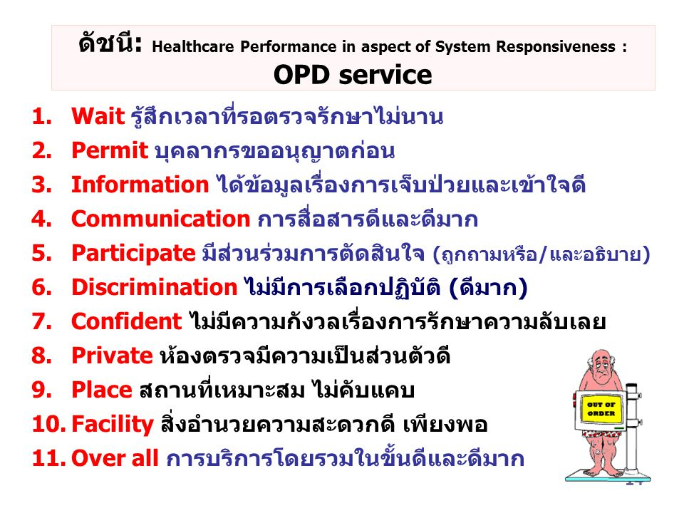 ดัชนี: Healthcare Performance in aspect of System Responsiveness : OPD service