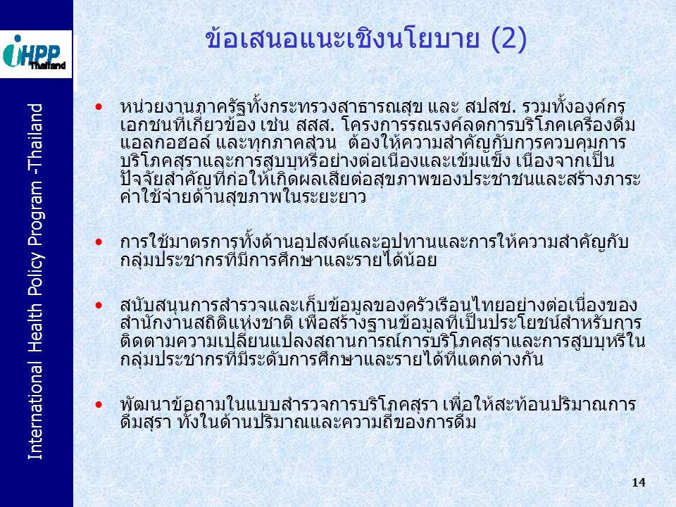 ข้อเสนอแนะเชิงนโยบาย (2)