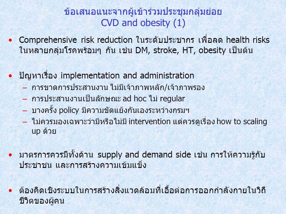ข้อเสนอแนะจากผู้เข้าร่วมประชุมกลุ่มย่อย CVD and obesity (1)