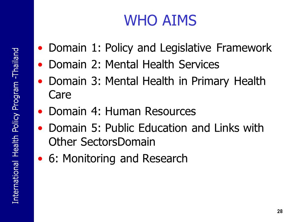 WHO AIMS Domain 1: Policy and Legislative Framework
