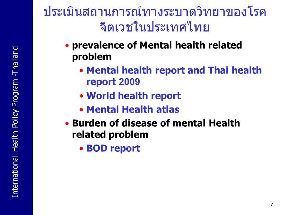 ประเมินสถานการณ์ทางระบาดวิทยาของโรคจิตเวชในประเทศไทย
