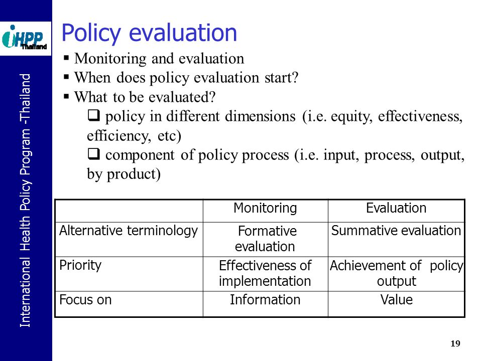 Policy evaluation Monitoring and evaluation