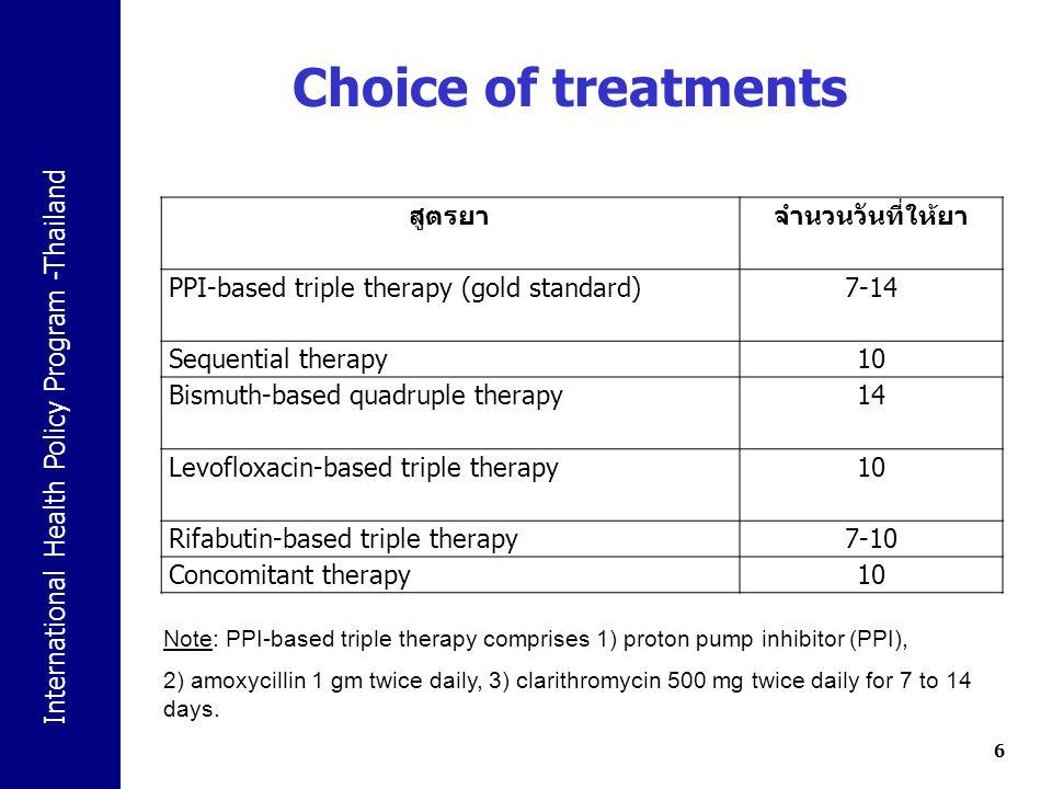 Choice of treatments สูตรยา จำนวนวันที่ให้ยา
