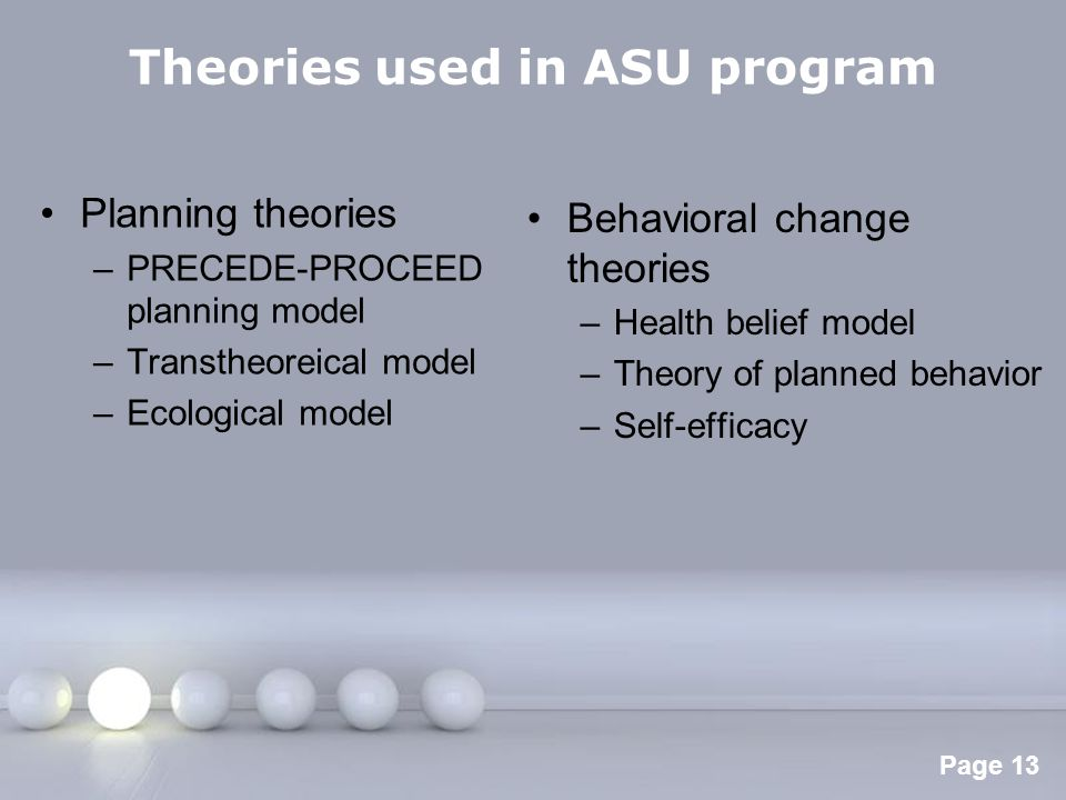 Theories used in ASU program