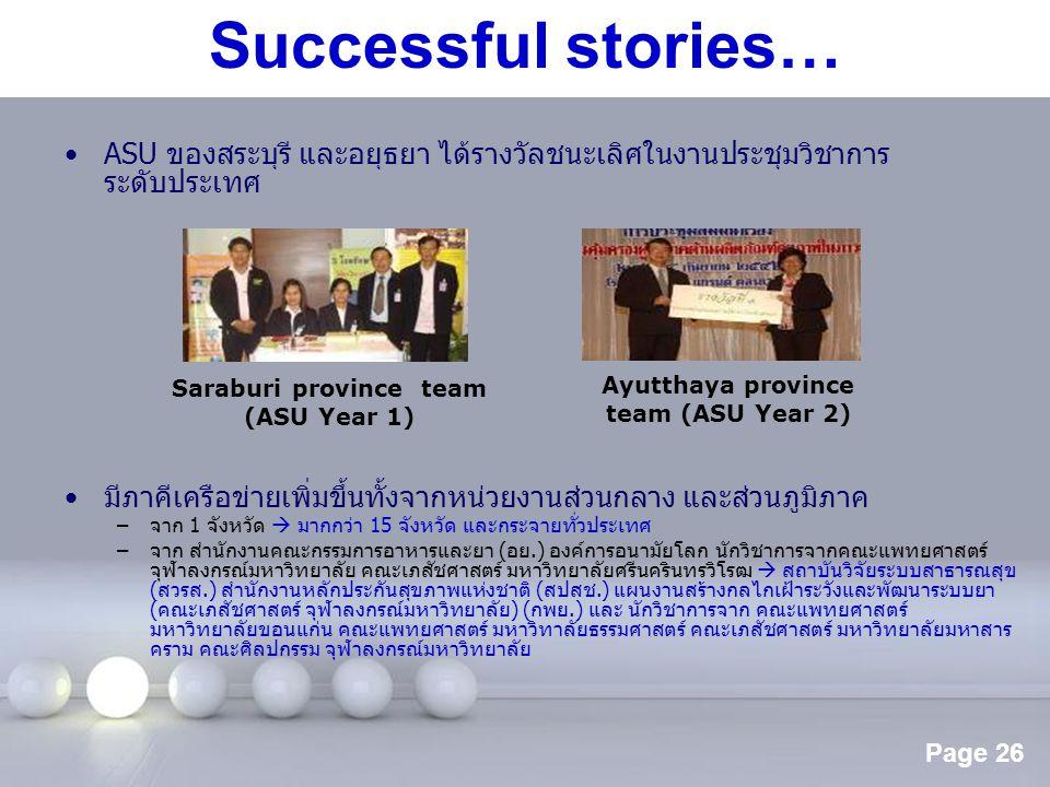Saraburi province team Ayutthaya province team (ASU Year 2)