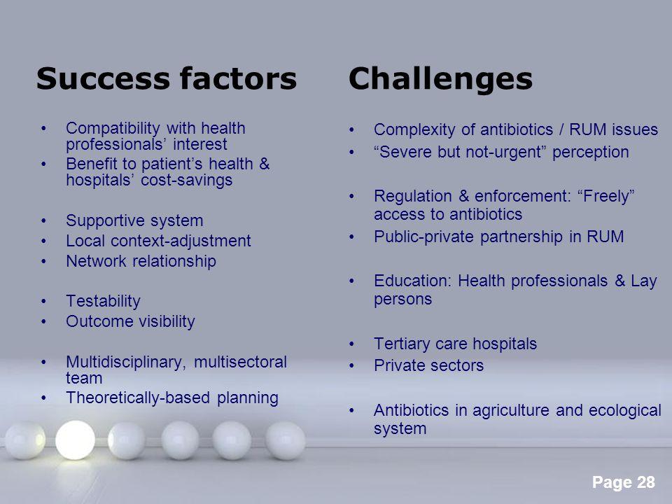 Success factors Challenges