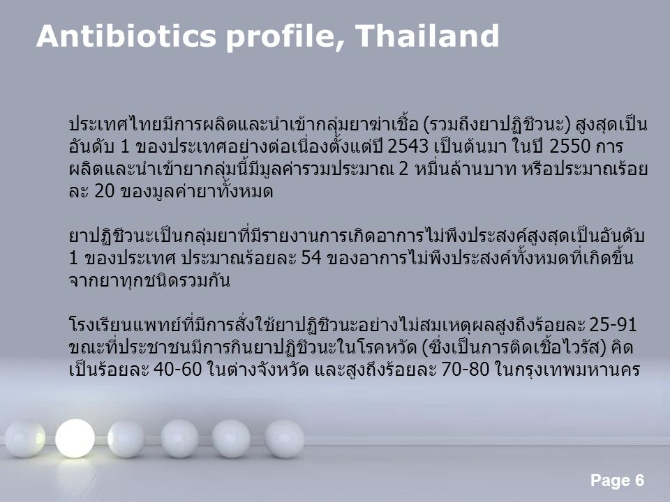 Antibiotics profile, Thailand