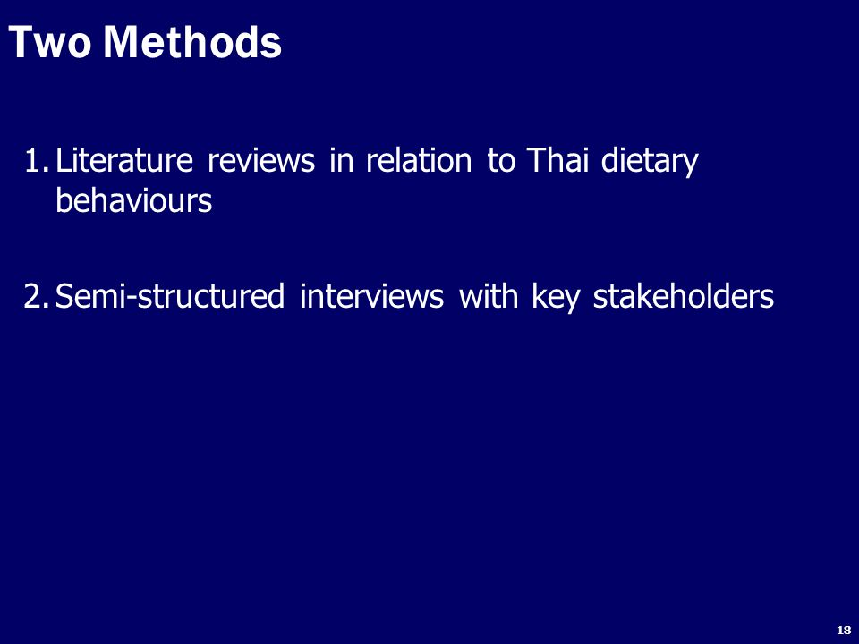 Two Methods Literature reviews in relation to Thai dietary behaviours