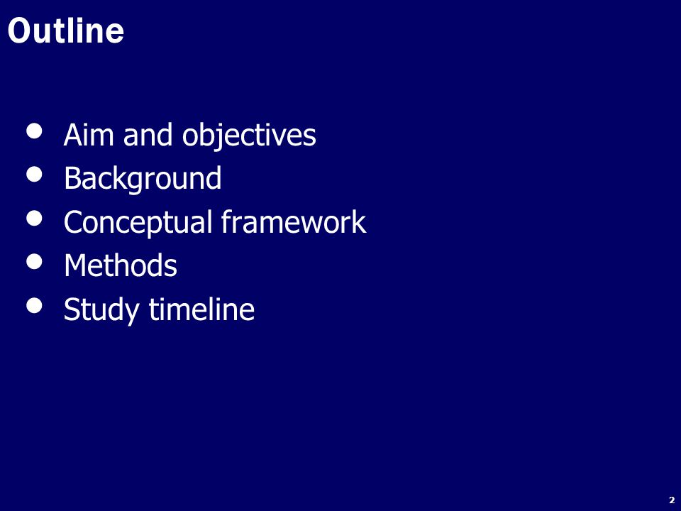 Outline Aim and objectives Background Conceptual framework Methods