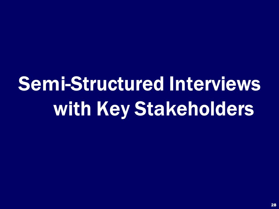 Semi-Structured Interviews with Key Stakeholders