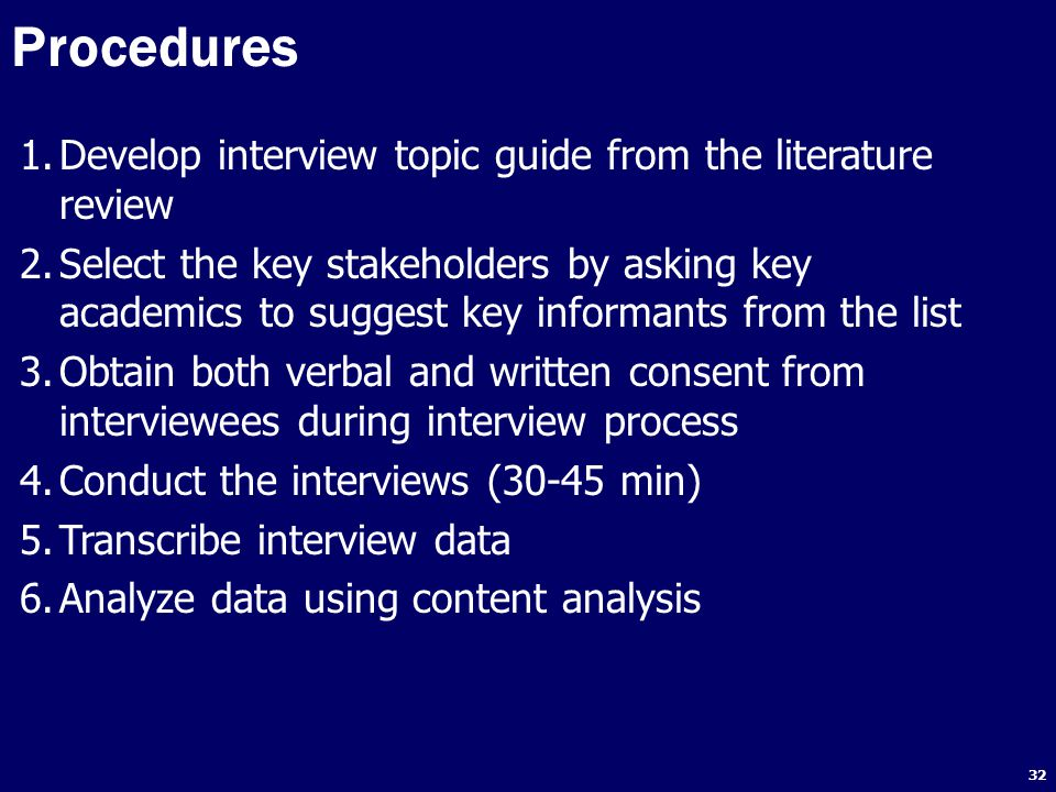 Procedures Develop interview topic guide from the literature review