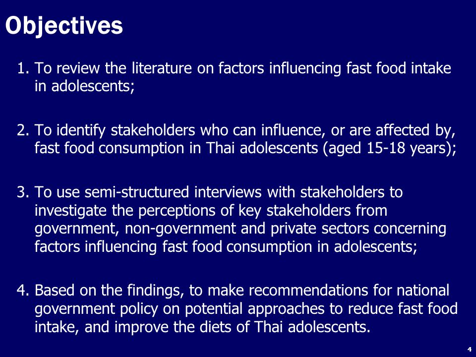 Objectives To review the literature on factors influencing fast food intake in adolescents;