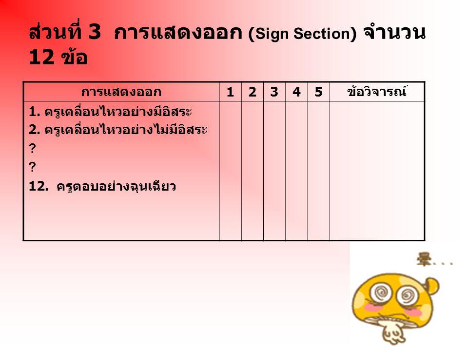 ส่วนที่ 3 การแสดงออก (Sign Section) จำนวน 12 ข้อ