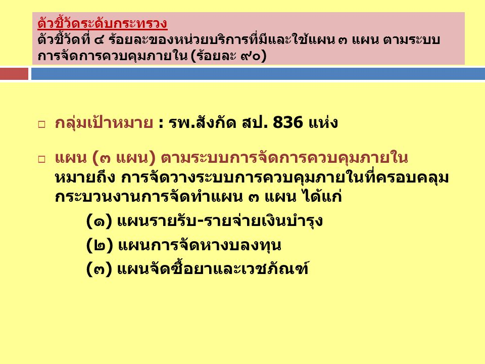 กลุ่มเป้าหมาย : รพ.สังกัด สป. 836 แห่ง