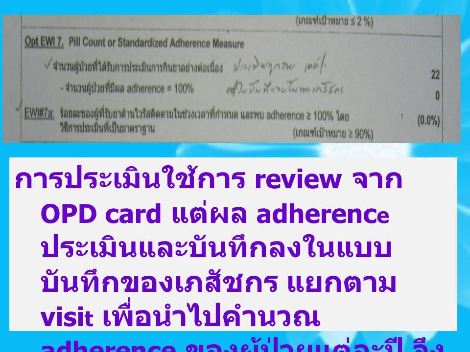 การประเมินใช้การ review จาก OPD card แต่ผล adherence ประเมินและบันทึกลงในแบบบันทึกของเภสัชกร แยกตาม visit เพื่อนำไปคำนวณ adherence ของผู้ป่วยแต่ละปี จึงไม่มีข้อมูลใน OPD card ดังรูป