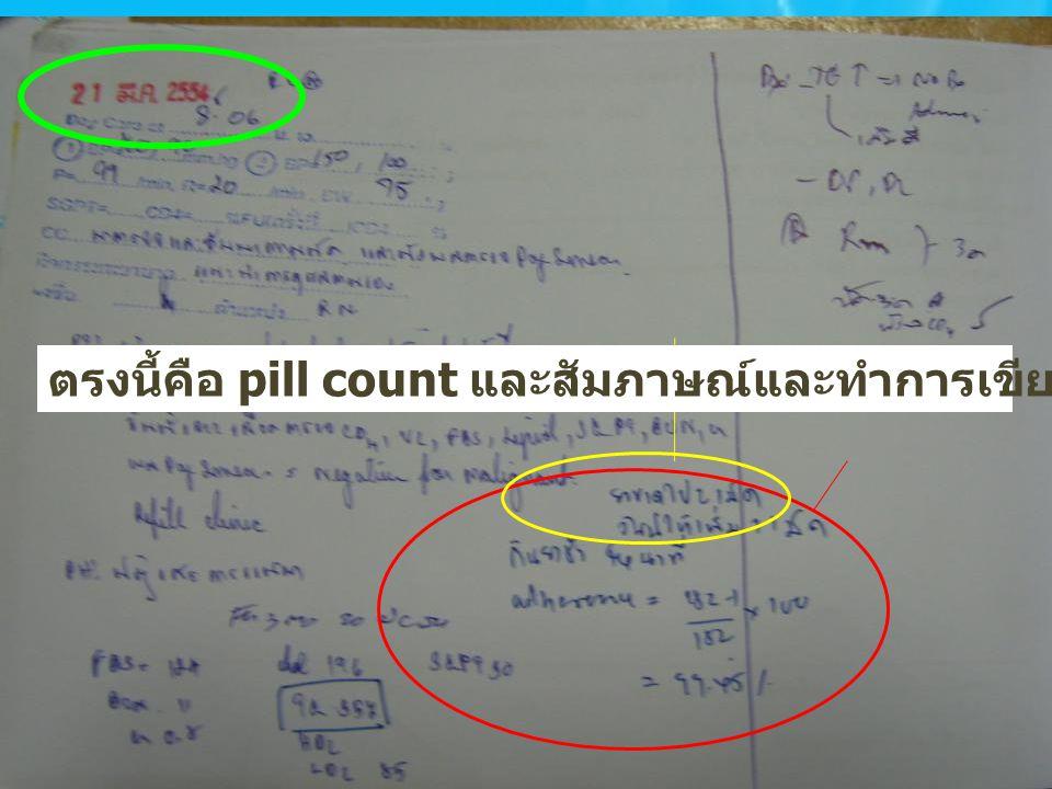 ตรงนี้คือ pill count และสัมภาษณ์และทำการเขียน % Adherence กำกับ